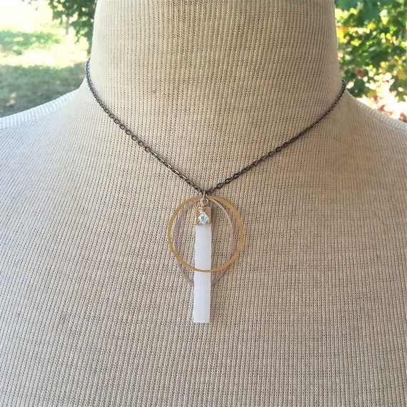 Selenite Brass Silver Necklace