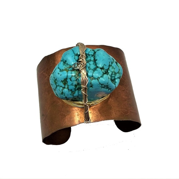 Wide Copper Cuff With Turquoise Chunk
