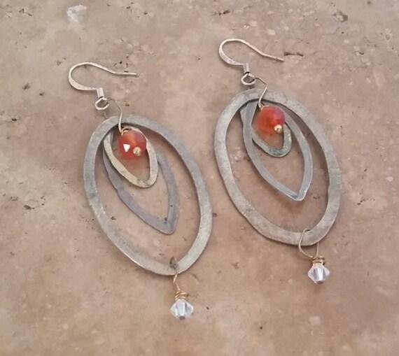 Carnelian, Mixed Metal Earrings