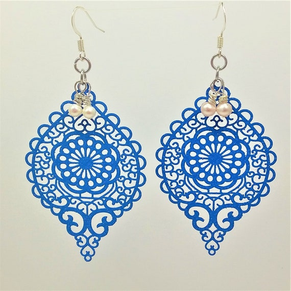 Spring Fling Earrings! Freshwater Pearls with Powder Blue Filigree