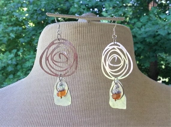 Carnelian Silver Rose earrings