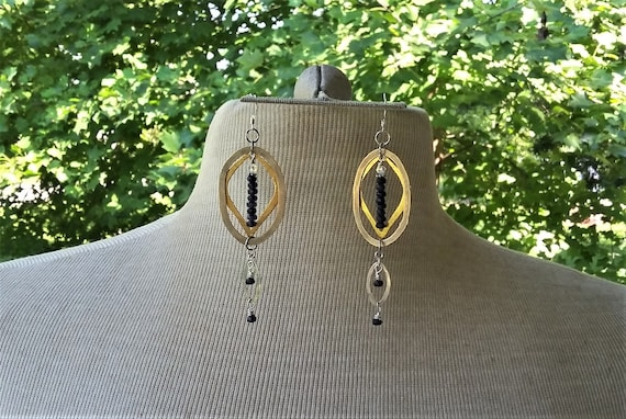 Sapphire Gold Silver Long Dangle Earrings