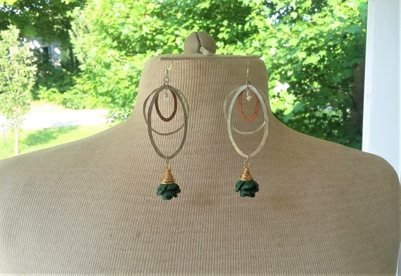 Metal Mania Earrings with Malachite