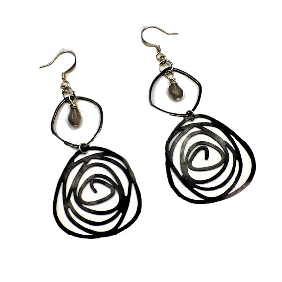 Labradorite Black Swirl  Earrings