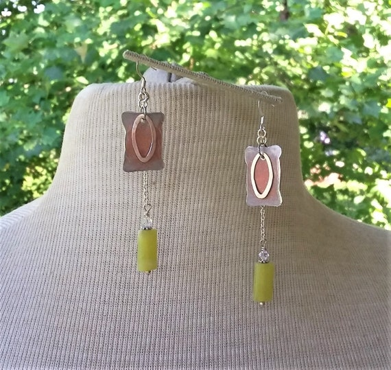 Jade Drops with Soft Coral Aluminum Earrings