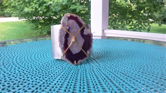 Purple Agate Slice Cuff