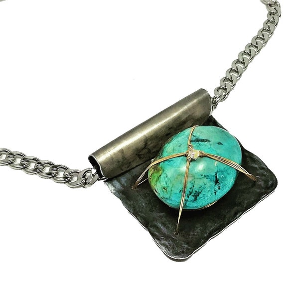 Turquoise Chunk Pendant Neecklace