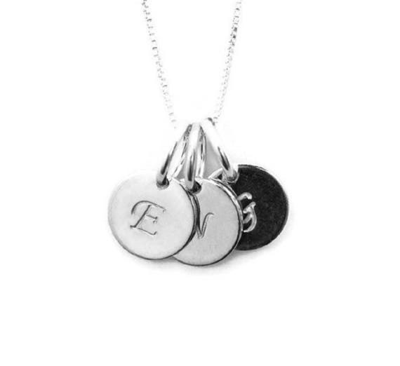 Silver 3 Initial Charm Necklace Mom Initial Necklace Personalized Necklace Gift For Mom Mothers Necklace Grandma Necklace Mom Necklace
