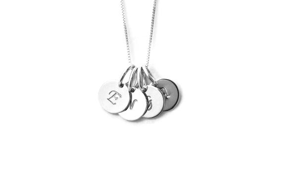 Mom 4 Initial Charm Necklace Personalized Necklace Mom Necklace 4 Silver Initials Grandma Necklace Gift For Mom Mothers Day Gift