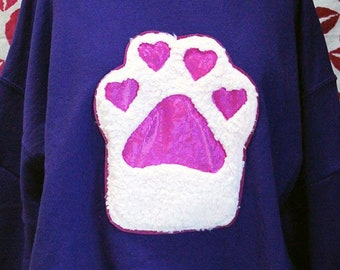 2310db2d15ff2 Paws of Love Fluffy Kitty Heart Toebeans Limited Edition Valentine  Sweatshirt - Sizes S-5X