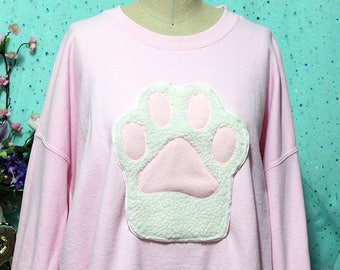 d962841f98472 Pastel Kitty Paw Kitten Toebeans Applique Sweatshirt - Holographic or  Fluffy Many Colors Sizes S-5X Plus Size Available Pastel Goth