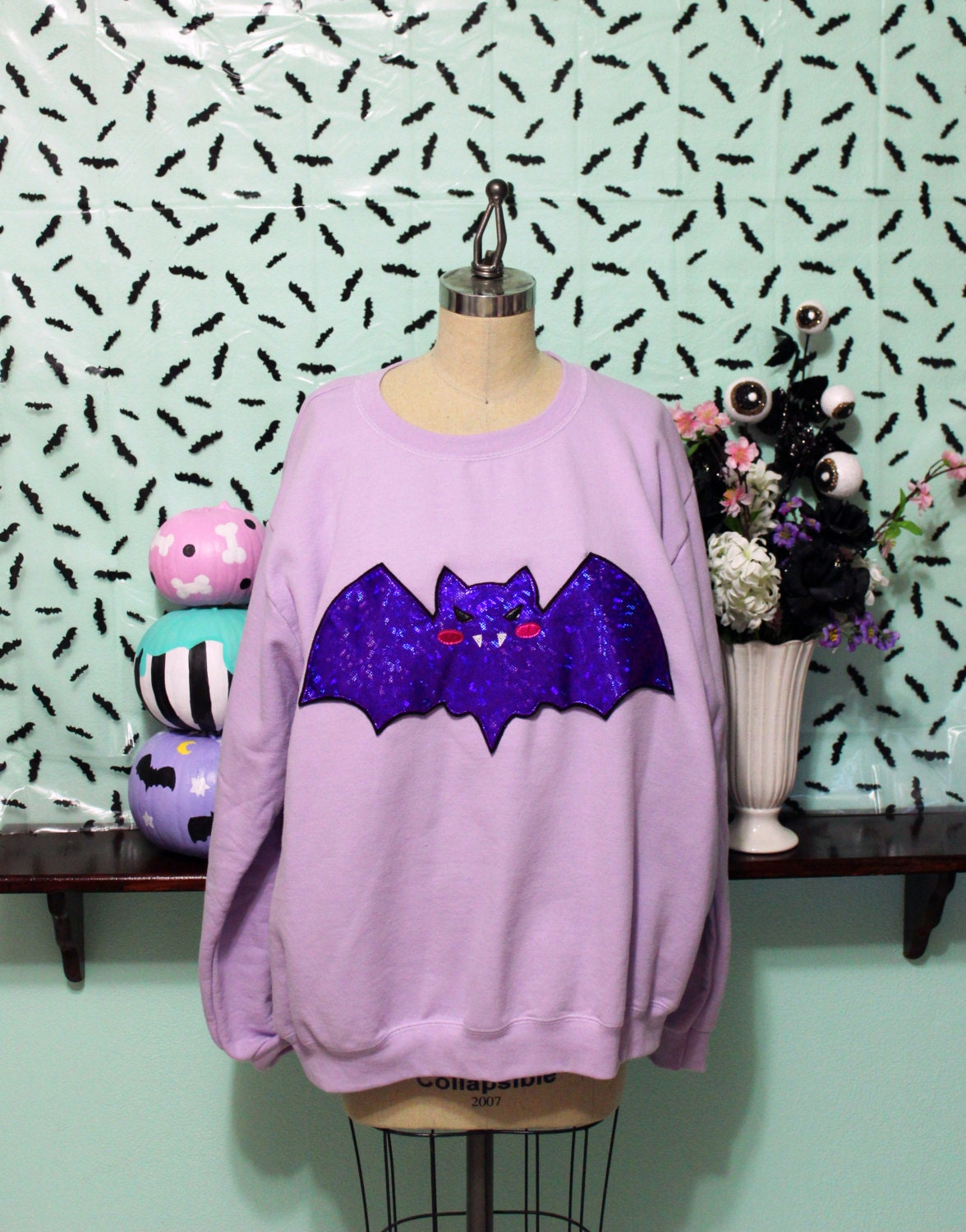 6ce3551004f31 Pastel Goth Holographic Kawaii Vampire Bat Oversized