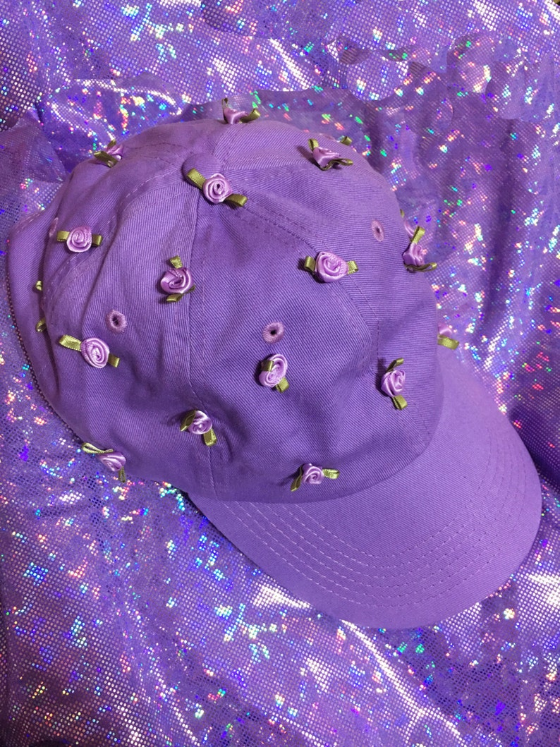 60e596293d9f5 Rose Garden Dad Cap in Lavender Hand Sewn Ribbon Rose