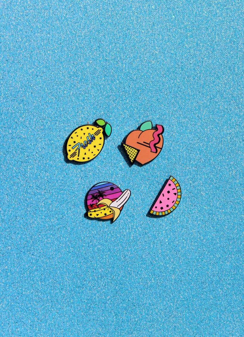 Ready To Ship Fresh /& Fruity Enamel Pin Collection Watermelon Peach Banana Lemon 80s 90s Confetti Memphis Style