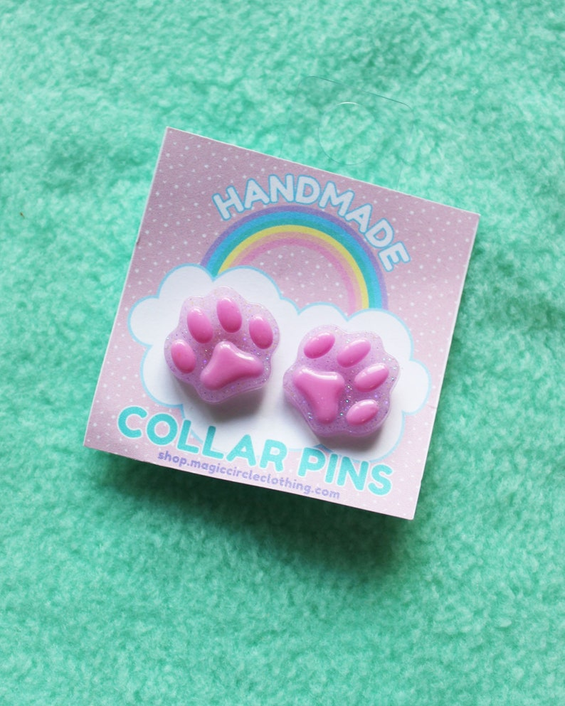 cab5420325991 Kitty Paw Collar Pins Pair of Cat Toe Beans Brooches