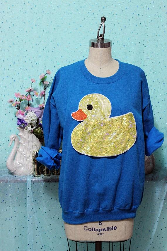 3ef3cea5e332e Holographic or Fluffy Rubber Ducky Applique Sweatshirt