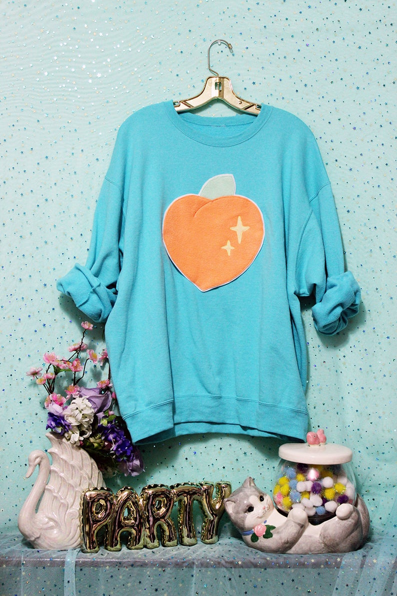86bfdb91f0523 Sparkle Peach Applique Sweatshirt Holographic or Fluffy Many