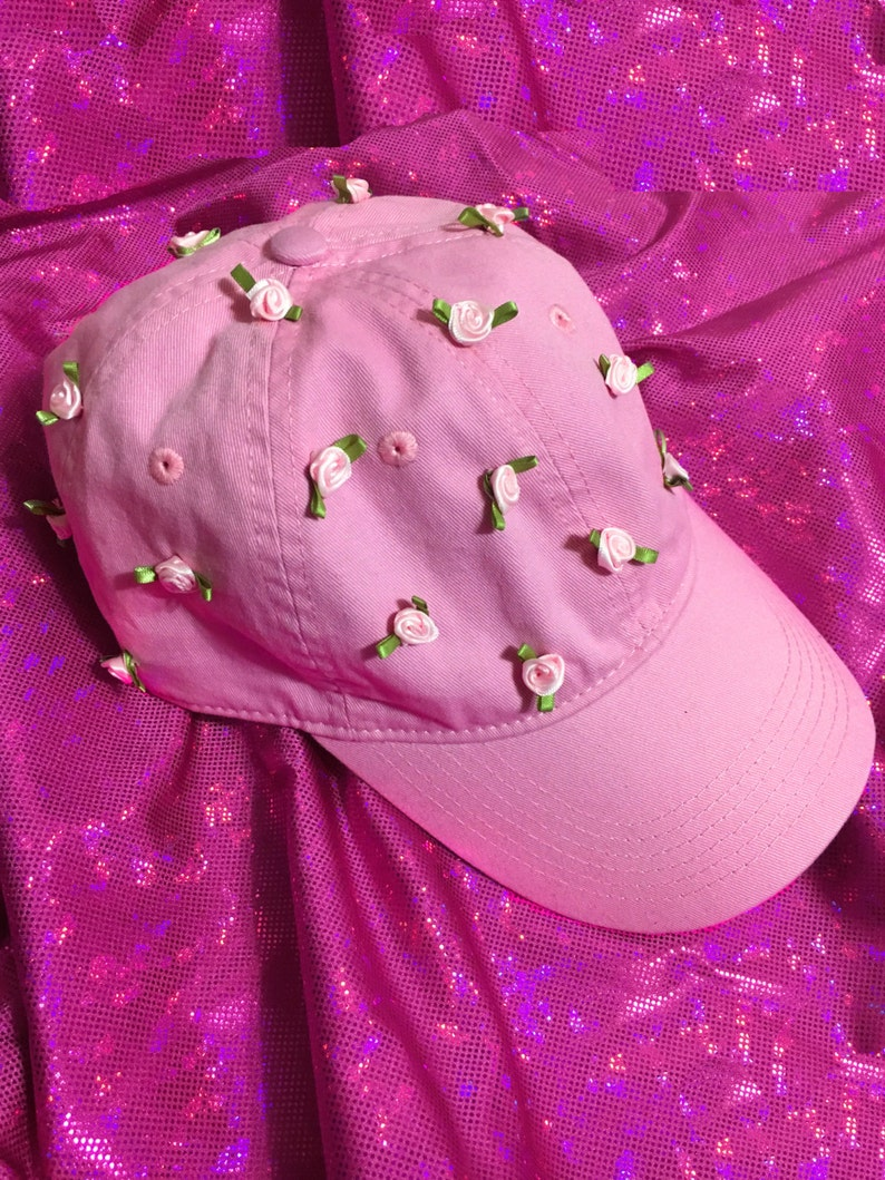 a5d2cea2fbb9a Rose Garden Dad Cap in Light Pink Hand Sewn Ribbon Rose