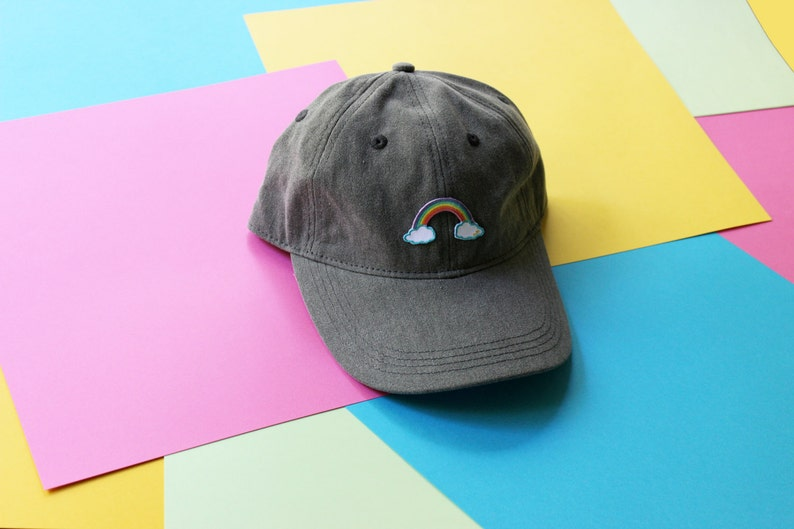 587238e9ed13f Magical Reverse Rainbow Patch Baseball Hat Strapback LIMITED