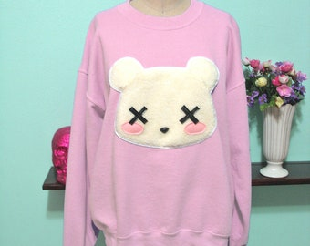 Pastel Goth Kawaii Grunge Deaddy Bear - Dead Teddy Bear Oversized Sweatshirt