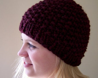 Chunky Knit Hat Oxblood Red, Chunky Knit Beanie Hat, Knit Winter Hat in Oxblood Red, Winter Trends, Big Knit Red Hat, Red Knit Toque, Beanie