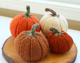 Hand Knit Wool Pumpkin, Choose Your Color and Size, Fall Table Decor, Fall Pumpkin Decor, Knit Pumpkin with Stem, Thanksgiving Decor