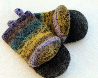 Knit Felted Wool Oven Mitt Set in Gray, Turquoise, Goldenrod Yellow Knit Felted Oven Mitts Wool Oven Glove Set, Hostess Gifts Kitchen Gift