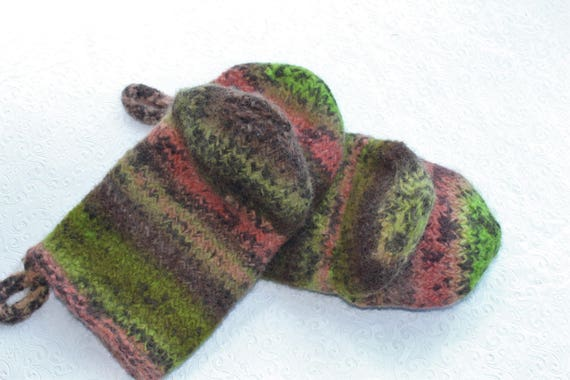 Kiwi Green Coral Brown Knit Felted Wool Oven Mitt Set Brown Etsy