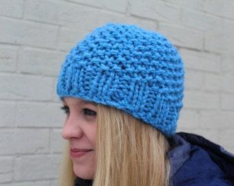 Bright Blue Chunky Knit Hat, Chunky Knit Beanie Hat, Blue Chunky Knit Toque, Warm Knit Hat, Big Knit Blue Hat, Knit Toque, Knit Cap in Blue