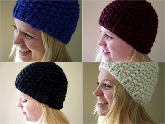 Hand Knit Beanie or Slouchy Hat Custom Color Chunky Knit Hat  d1a181e3d06f