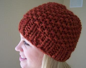Chunky Knit Hat in Pumpkin Spice, Chunky Knit Beanie Hat, Big Knit Hat Rust, Fall Trends, Pumpkin Orange Toque, Knit Cap for Men Women
