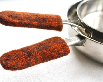 Orange Brown Wool Knit Felted Pot Handle Covers, Cast Iron Skillet Handle Cover, Skillet Handle Holder, Griddle Pan Handle, Pot Sleeve, fall