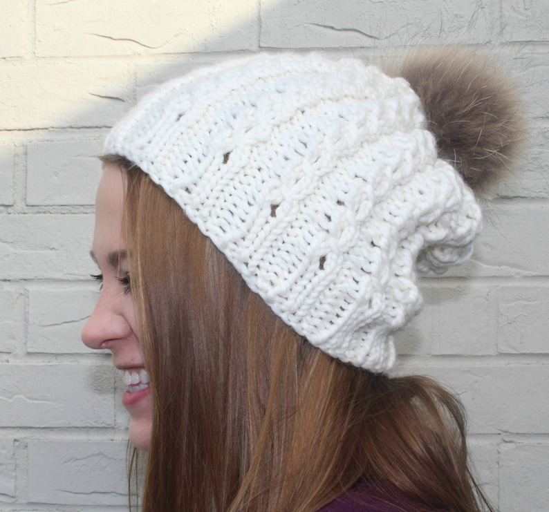 cf1a4836146 Creamy Winter White Washable Merino Wool Pom Pom Hat Large