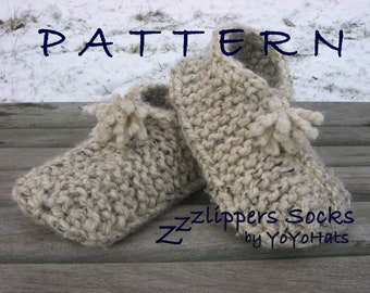 60facb4ad315d0 Slippers Knitting Pattern - Adult Slipper Socks Knitting Pattern - Easy  Adult Slipper Pattern - Hand Knit Slippers Pattern