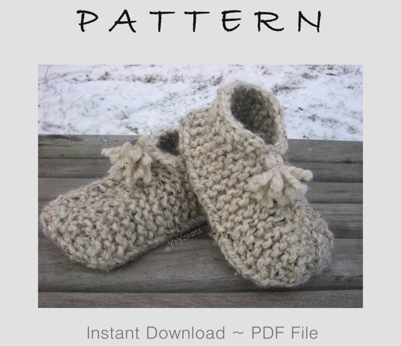 Knitting Pattern Wool Medium Slipper Socks Knitted Slippers