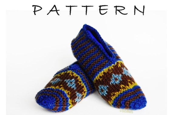 Knitting Pattern For Medium Slipper Socks Knit Fair Isle Etsy