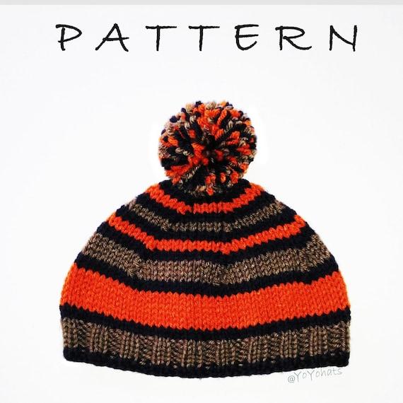 Knitted Hat Pattern Striped Pom Pom Hat Knitting Pattern Etsy