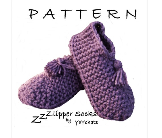 Slippers Knitted Pattern Pattern For Adult Slippers Size Etsy