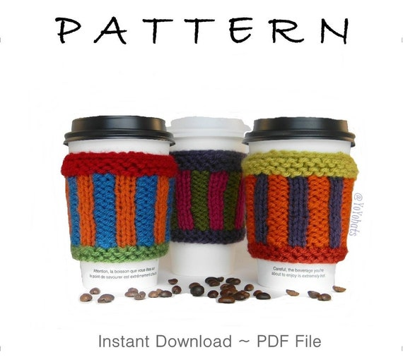 Mug Warmer Knitting Pattern Knitted Coffee Sleeve Pattern Etsy