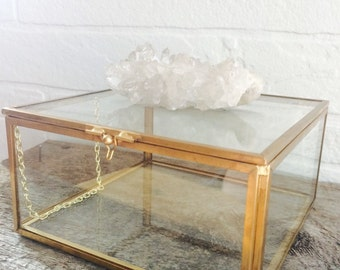 Crystal and glass jewelry box, quartz flower crystal, keepsake box, one of a kind crystal, heirloom, jewelry storage