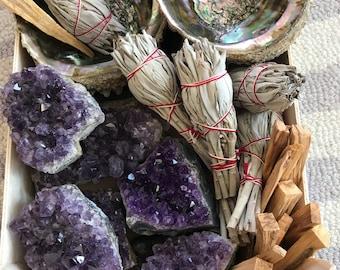 Large Abalone Shell smudge kit, large abalone shell,  raw Amethyst crystal, white sage bundle, palo santo,reiki, Native American