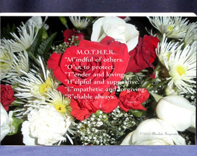 Gift Plaque For Mom Poem & Bouquet of Flowers In One!