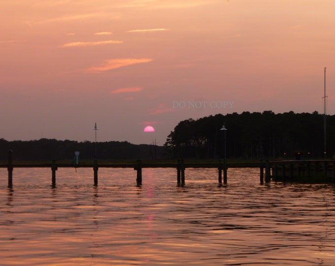 Pink Sunset Photograph | Sunsetting Over The Bay |Download Photo- Create Your Own Home or Beach House Wall Art
