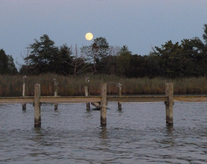 Moon Over Dock Of The Bay Photograph| Create A Photo Gift - Downloadable Print - Photo Of Super Moon - Great Gift Idea For Beach Home