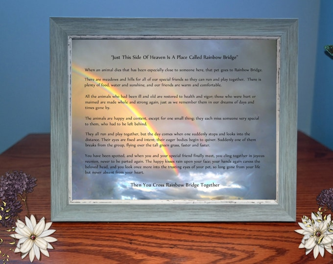 Rainbow Bridge Sympathy Gift| Framed Photo Gift | Pet Loss|Personalize Option Available