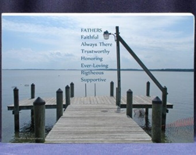Gift Plaque for Dad With Sentimental Poem and Serene Bay Photo