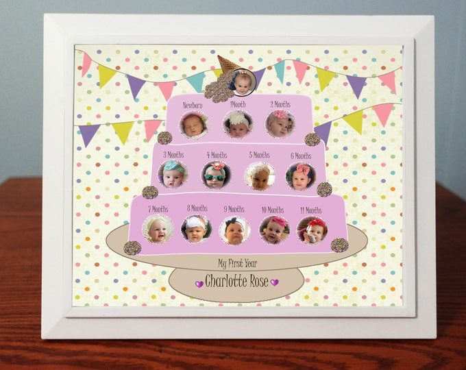 Customized Babys First Year Photo Gift |Babys 12 Month Pictures | Digital Designs|8x 10 Baby Photo Gift & Frame