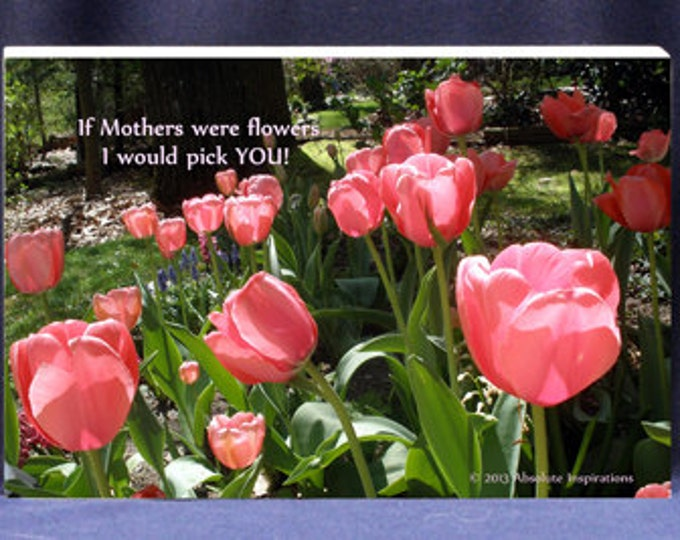 Flower Photo Gift Plaque for Mom If Mothers Were Flowers I Would Pick You | Digital Photo Gift Mount