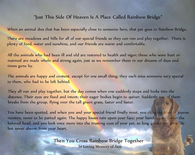 Customized Rainbow Bridge Sympathy Gift -Pet Loss|Unisex Wording- Photo Personalization Option