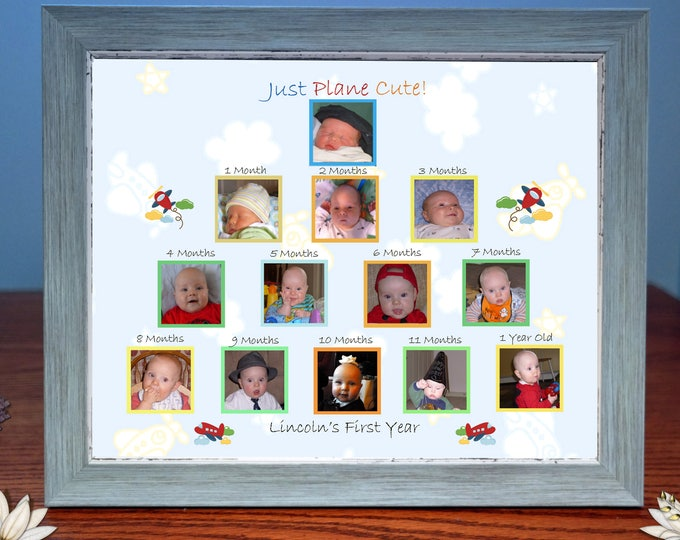 Customized Babys First Year Photo Gift & Frame Just Plane Cute|Digitally Design For You